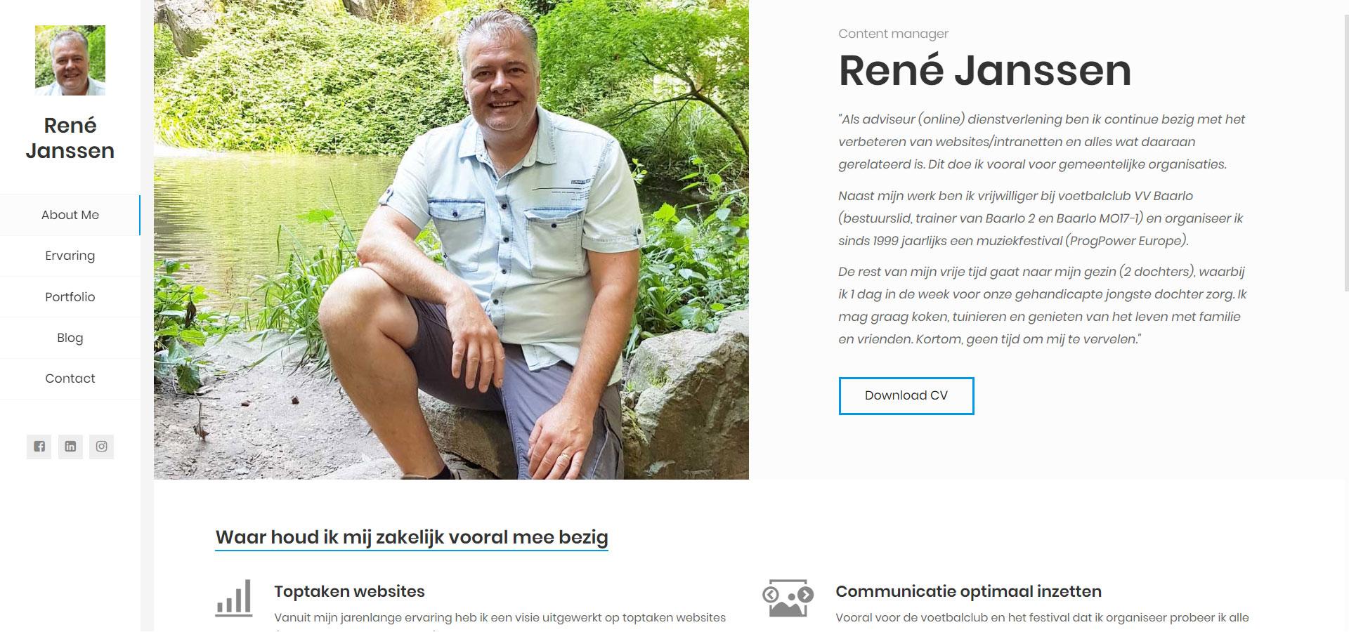 Screenshot nieuwe website René Janssen