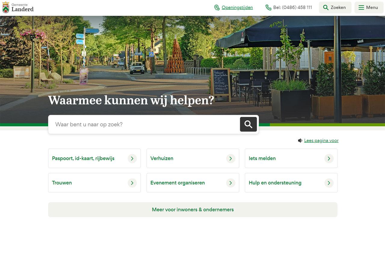 Toptaken website gemeente Landerd