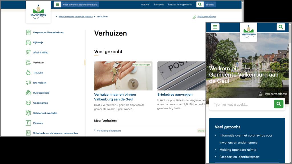 Screenshot website gemeente Valkenburg, inclusief mobiele weergave | René Janssen